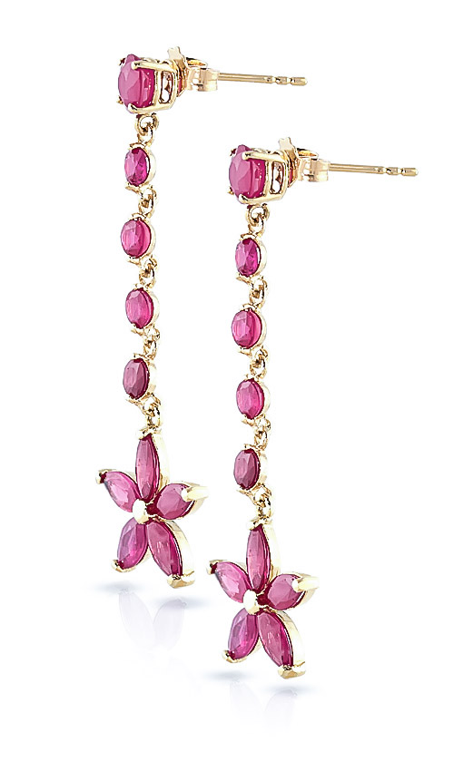 Ruby Daisy Chain Drop Earrings 4.8ctw in 9ct Gold