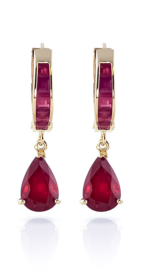 Ruby Huggie Drop Earrings 4.8ctw in 9ct Gold