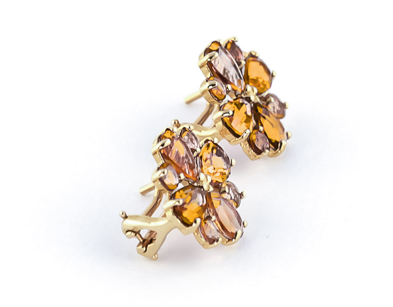 Citrine Sunflower Stud Earrings 4.85ctw in 9ct Gold