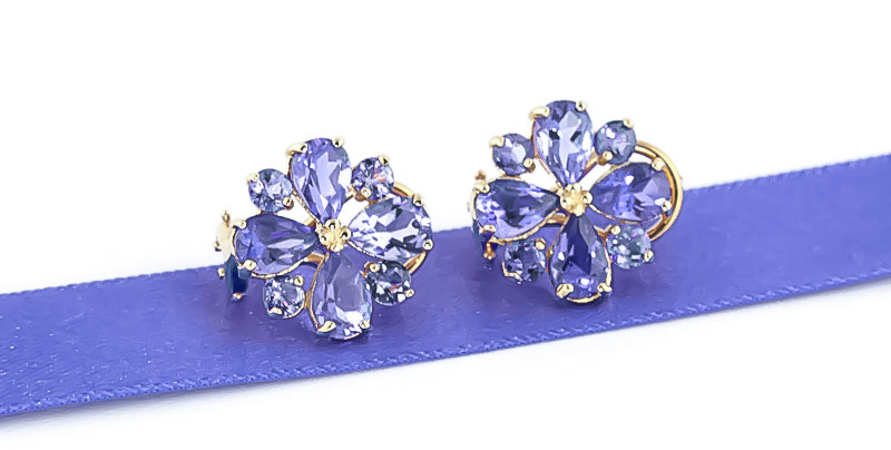 Tanzanite Sunflower Stud Earrings 4.85ctw in 9ct Gold