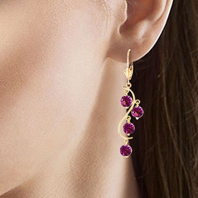 Amethyst Dream Catcher Drop Earrings 4.95ctw in 9ct Gold