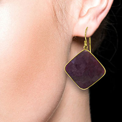 Ruby Drop Earrings 40.5ctw in 14K Gold
