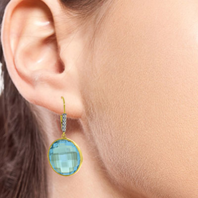 Blue Topaz and Diamond Drop Earrings 46.0ctw in 9ct Gold