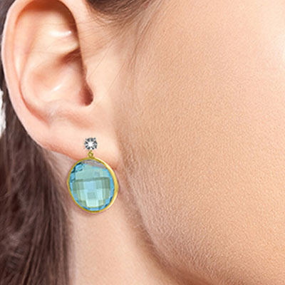Blue Topaz and Diamond Stud Earrings 46.0ctw in 14K Gold