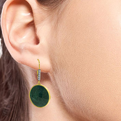 Corundum and Diamond Drop Earrings 46.0ctw in 14K Gold