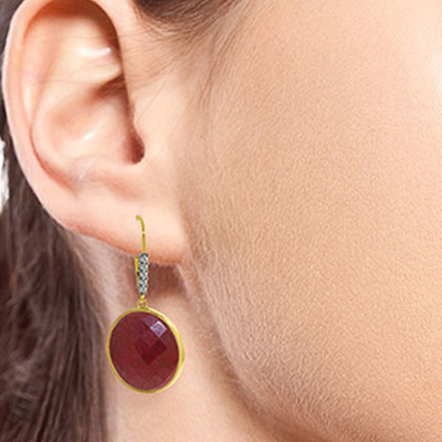Ruby and Diamond Drop Earrings 46.0ctw in 14K Gold