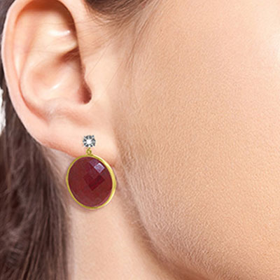 Ruby and Diamond Stud Earrings 46.0ctw in 14K Gold