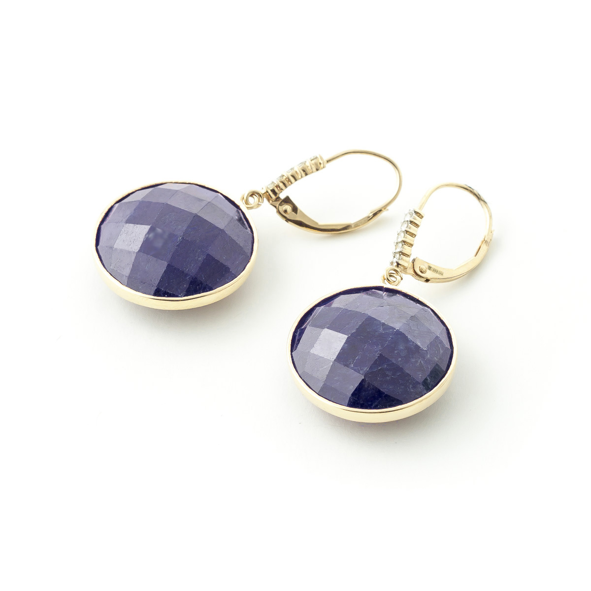 Sapphire and Diamond Drop Earrings 46.0ctw in 9ct Gold