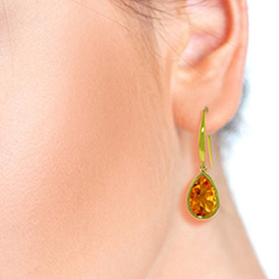 Citrine Elliptical Drop Earrings 5.0ctw in 14K Gold
