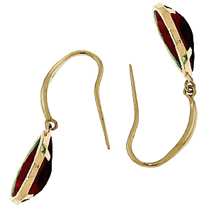 Garnet Elliptical Drop Earrings 5.0ctw in 9ct Gold