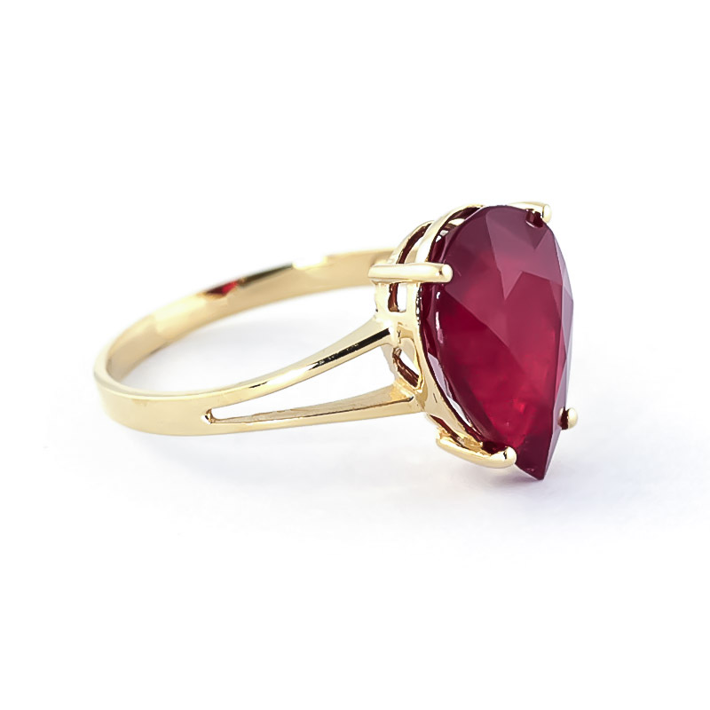 Pear Cut Ruby Ring 5.0ct in 9ct Gold