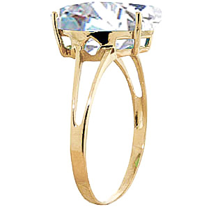 Pear Cut White Topaz Ring 5.0ct in 14K Gold