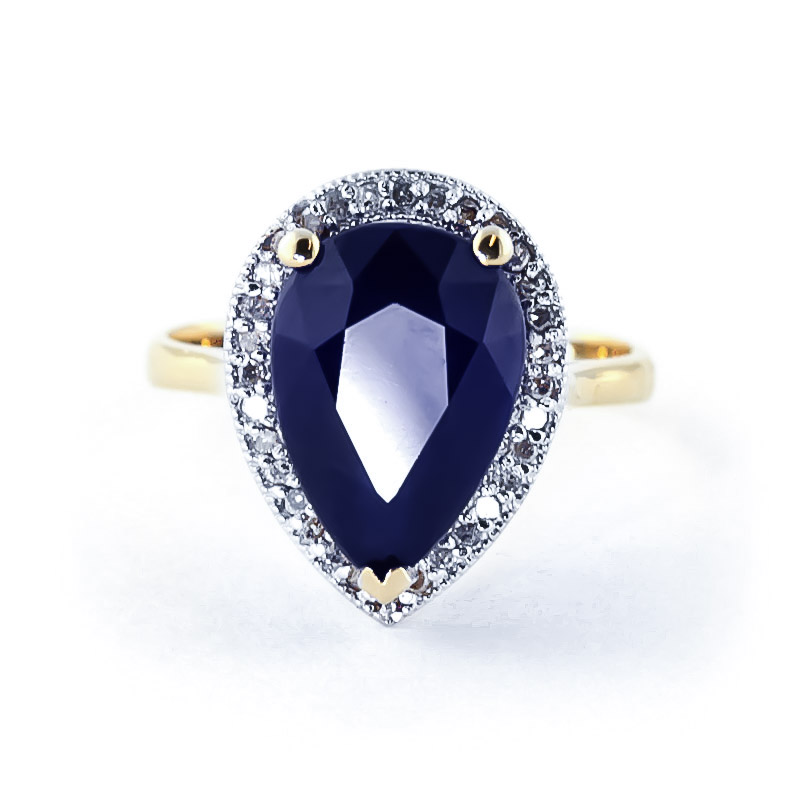 Sapphire and Diamond Halo Ring 5.1ct in 9ct Gold
