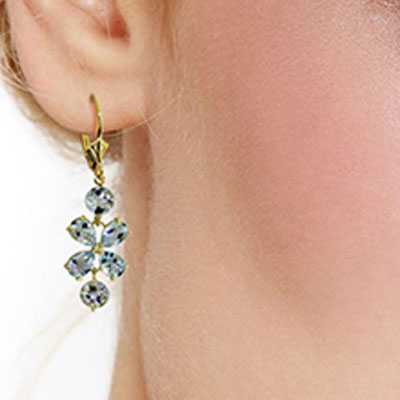 Aquamarine Blossom Drop Earrings 5.32ctw in 14K Gold