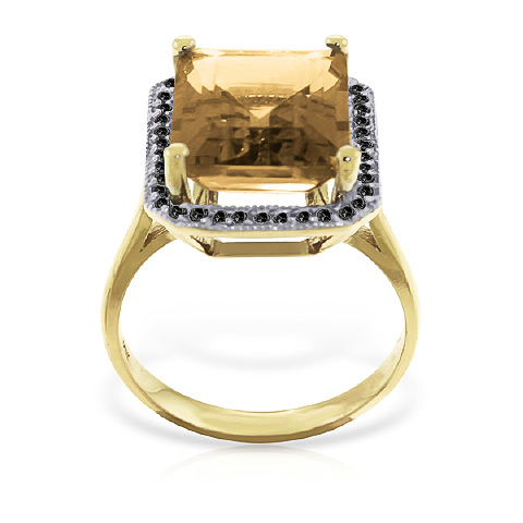 Citrine and Diamond Halo Ring 5.6ct in 14K Gold