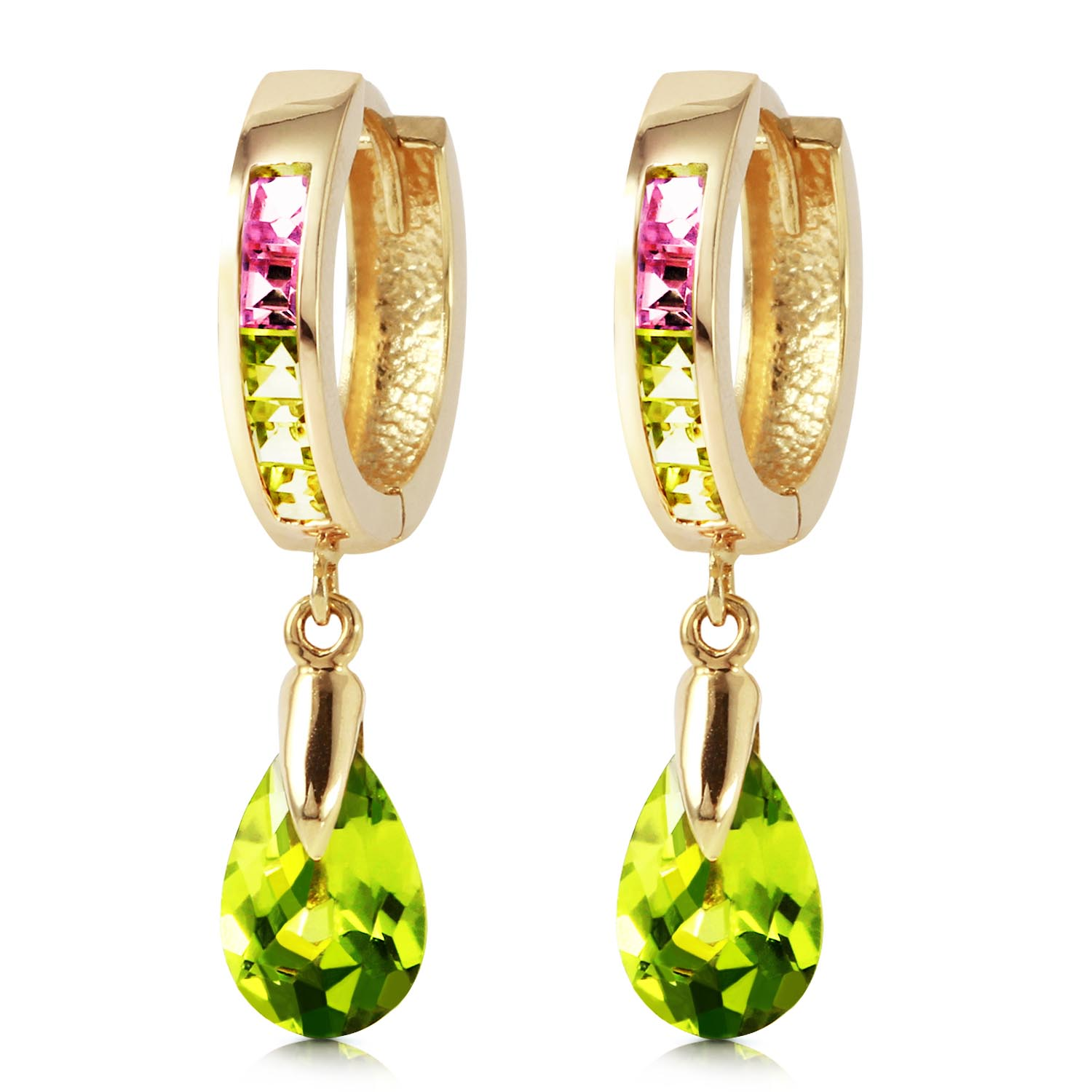 Cubic Zirconia Droplet Huggie Earrings 5.68ctw in 9ct Gold
