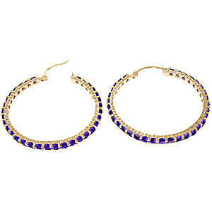 Amethyst Metro Hoop Earrings 6.0ctw in 9ct Gold