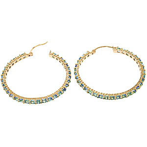 Blue Topaz Metro Hoop Earrings 6.0ctw in 14K Gold