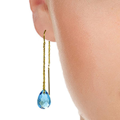 Blue Topaz Scintilla Briolette Earrings 6.0ctw in 9ct Gold