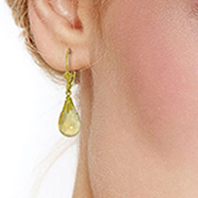 Citrine Droplet Briolette Earrings 6.0ctw in 9ct Gold