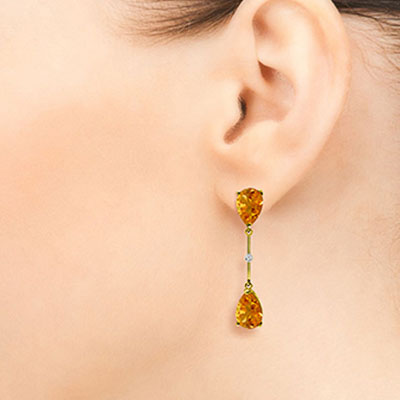 Citrine and Diamond Drop Earrings 6.0ctw in 14K Gold