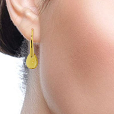 Citrine Briolette Drop Earrings 6.0ctw in 14K Gold