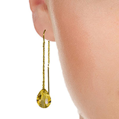 Citrine Scintilla Briolette Earrings 6.0ctw in 9ct Gold