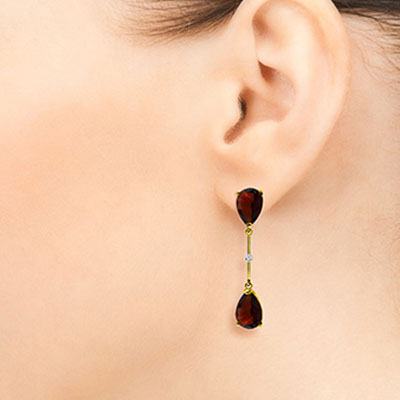 Garnet and Diamond Drop Earrings 6.0ctw in 9ct Gold