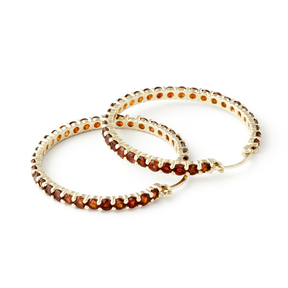 Garnet Metro Hoop Earrings 6.0ctw in 14K Gold