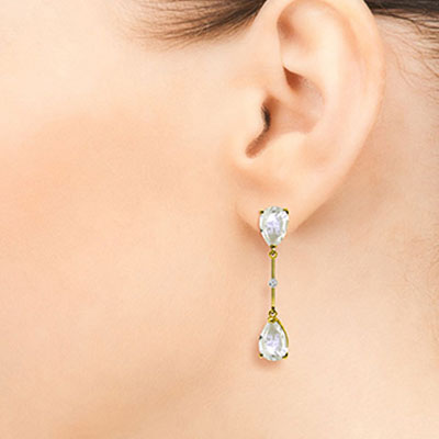 White Topaz and Diamond Drop Earrings 6.0ctw in 9ct Gold