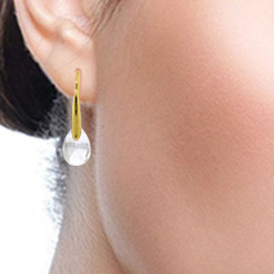 White Topaz Briolette Drop Earrings 6.0ctw in 14K Gold