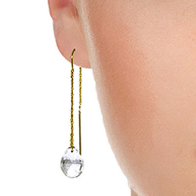 White Topaz Scintilla Briolette Earrings 6.0ctw in 14K Gold