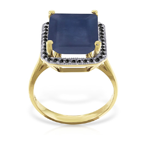 Sapphire and Diamond Halo Ring 6.4ct in 14K Gold