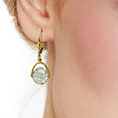 Green Amethyst Drop Earrings 6.5ctw in 14K Gold