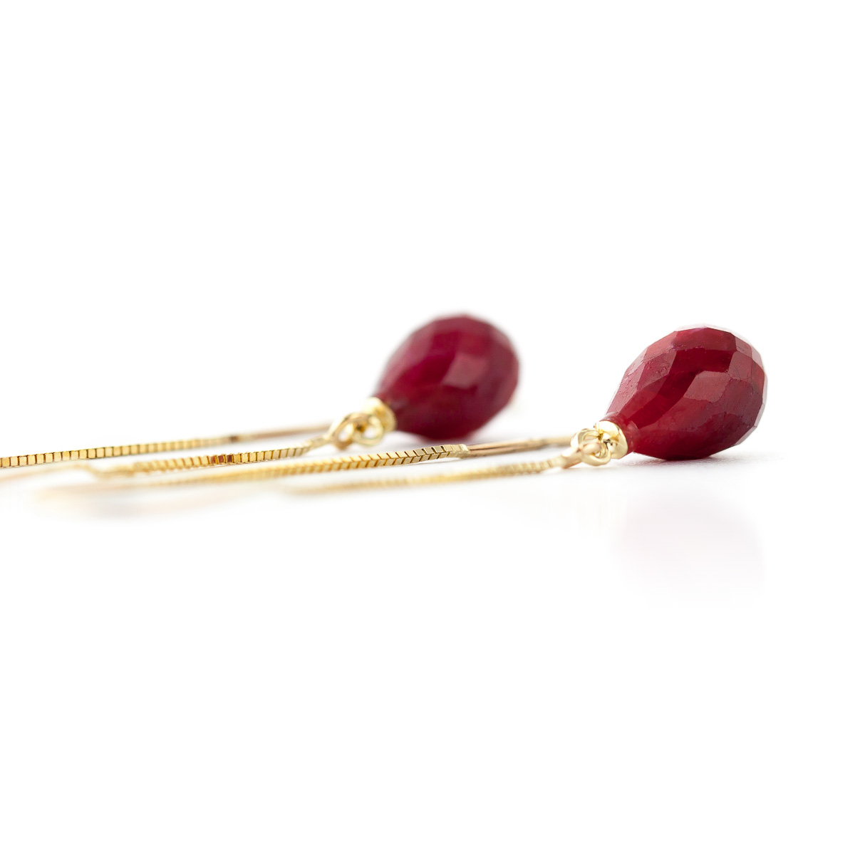 Ruby Scintilla Briolette Earrings 6.6ctw in 9ct Gold