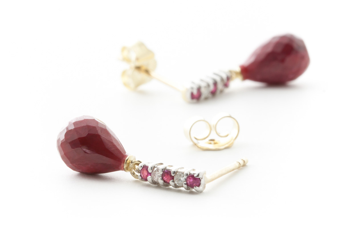 Ruby and Diamond Stud Earrings 6.84ctw in 14K Gold