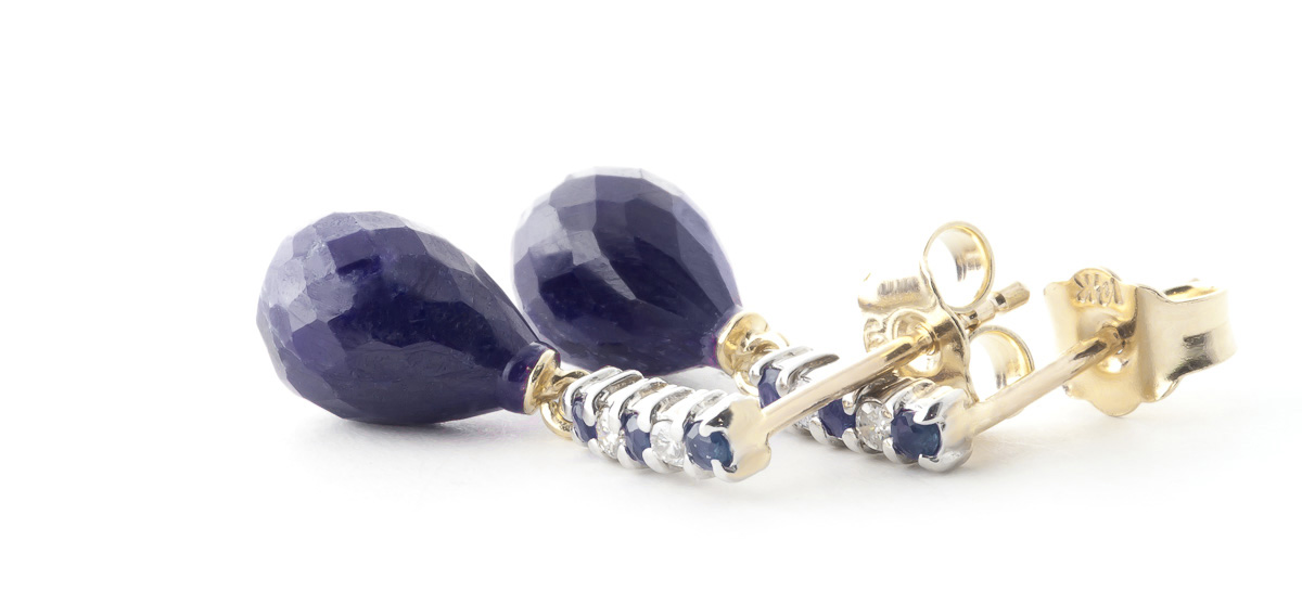 Sapphire and Diamond Stud Earrings 6.84ctw in 9ct Gold