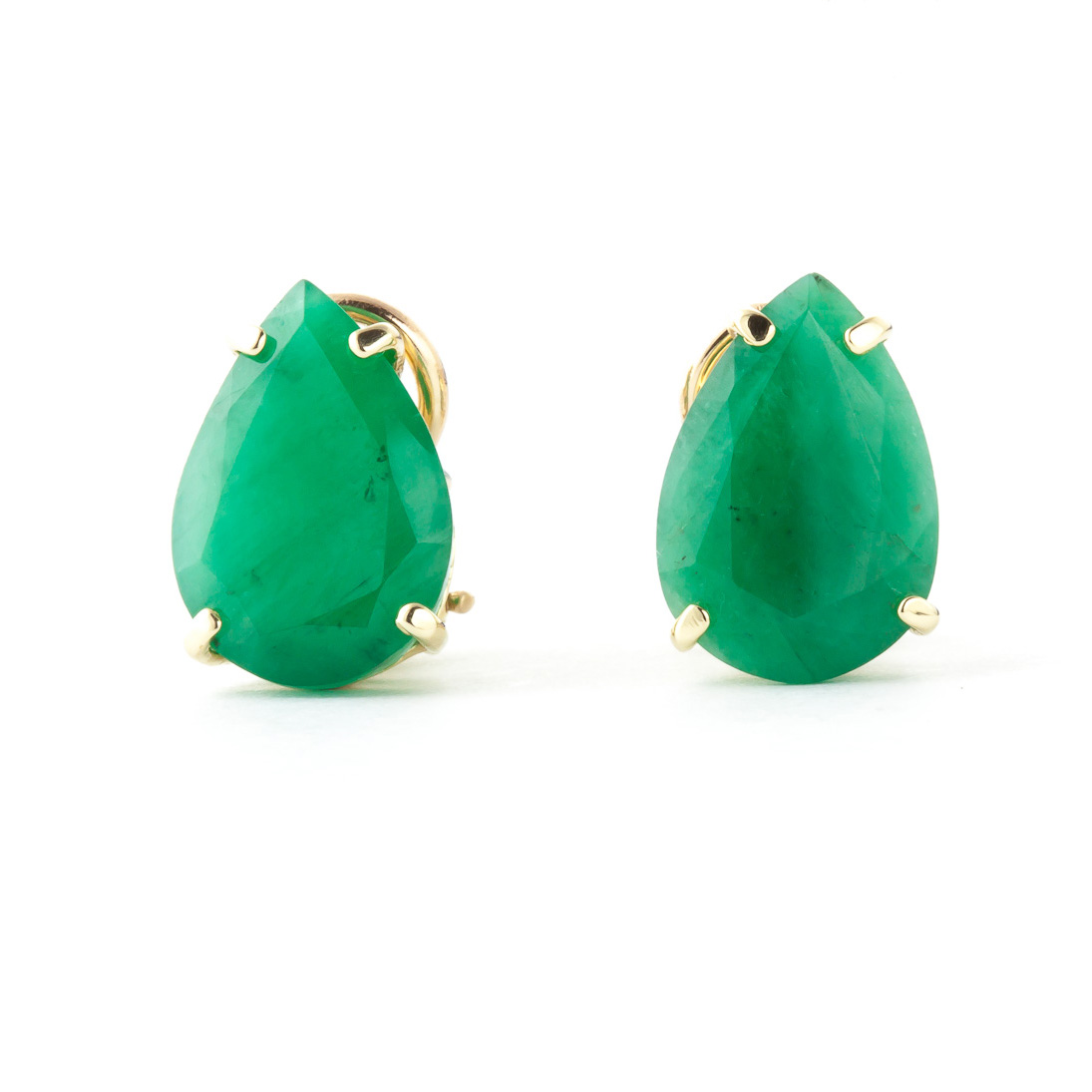 Emerald Droplet Stud Earrings 7.0ctw in 9ct Gold