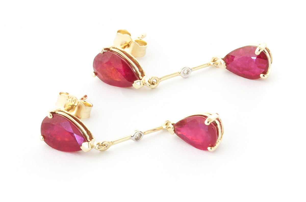 Ruby and Diamond Drop Earrings 7.0ctw in 9ct Gold