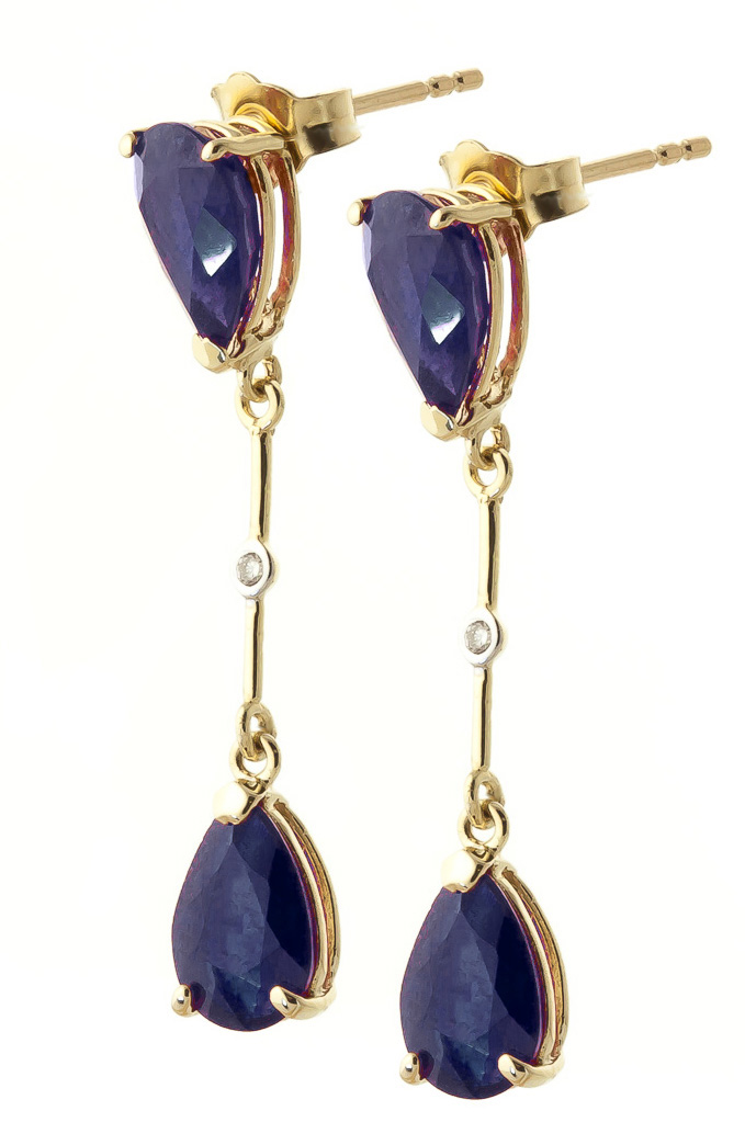 Sapphire and Diamond Drop Earrings 7.0ctw in 9ct Gold