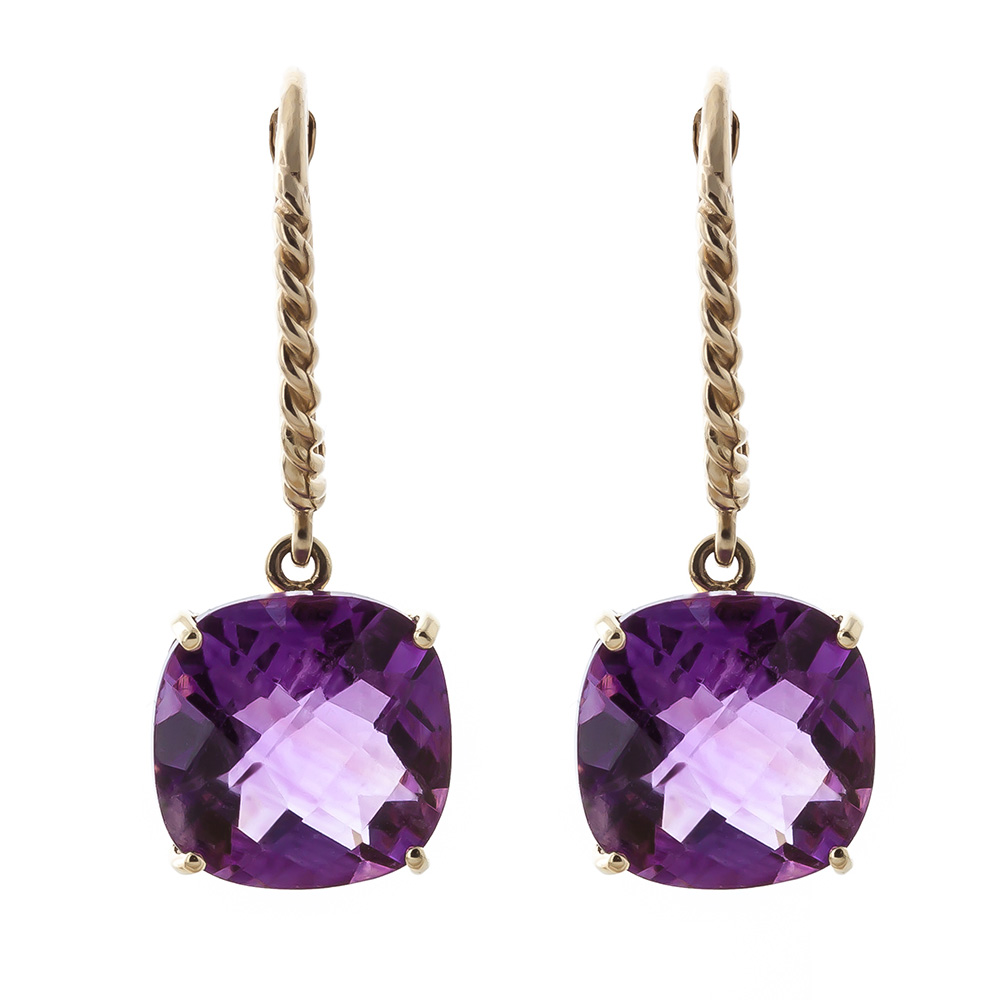 Amethyst Rococo Twist Drop Earrings 7.2ctw in 9ct Gold