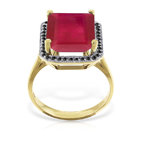 Ruby and Diamond Halo Ring 7.25ct in 14K Gold
