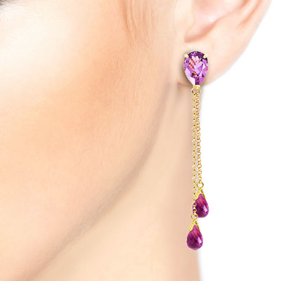 Amethyst Droplet Earrings 7.5ctw in 9ct Gold
