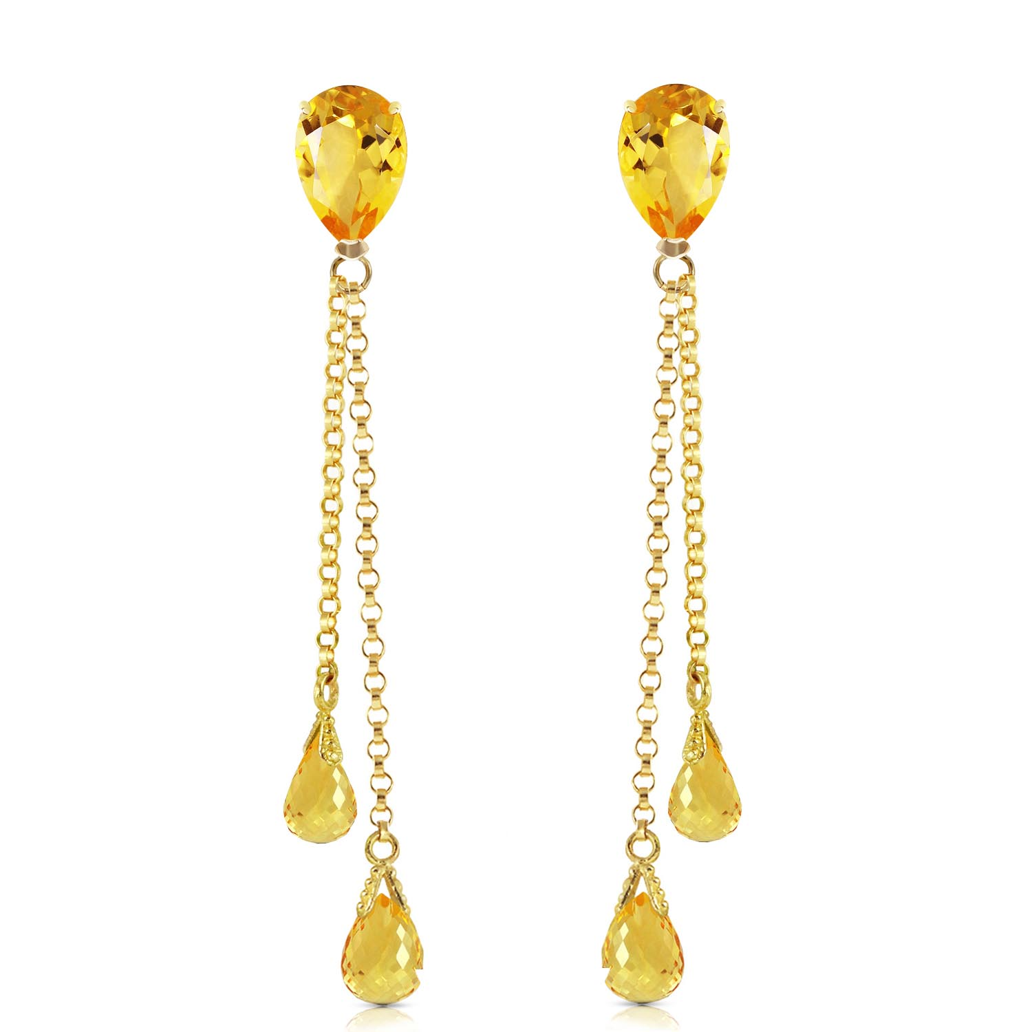 Citrine Droplet Earrings 7.5ctw in 9ct Gold