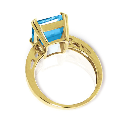 Blue Topaz and Diamond Ring 7.6ct in 14K Gold