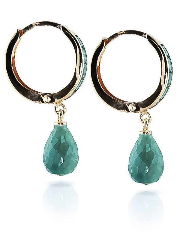 Emerald Droplet Huggie Earrings 7.8ctw in 9ct Gold
