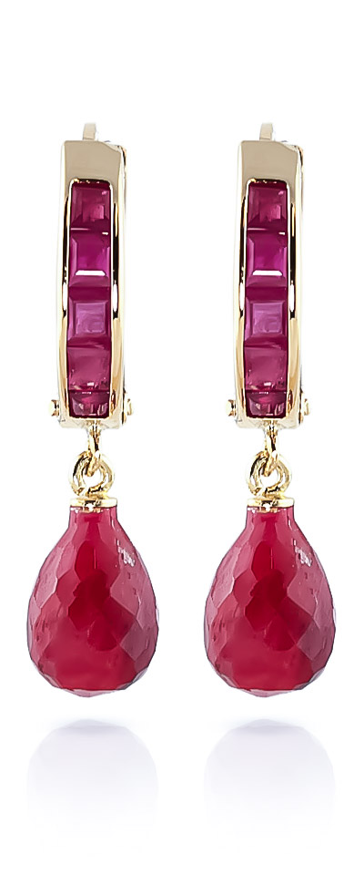 Ruby Droplet Huggie Earrings 7.8ctw in 9ct Gold
