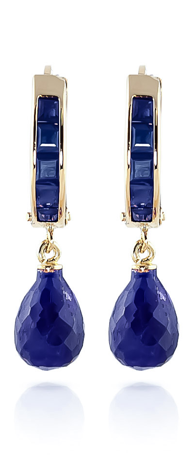 Sapphire Droplet Huggie Earrings 7.8ctw in 9ct Gold