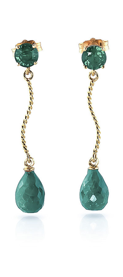 Emerald Lure Drop Earrings 7.9ctw in 9ct Gold