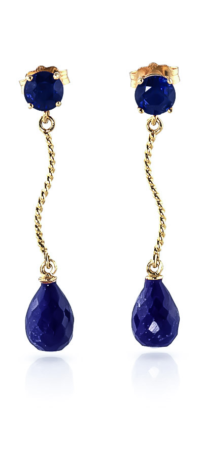 Sapphire Lure Drop Earrings 7.9ctw in 9ct Gold